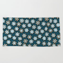 Frosted Gingerbread on Winter Night Sky Beach Towel