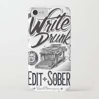 hemingway iPhone & iPod Cases featuring Write Drunk. Edit Sober by Ryan Huddle House of H