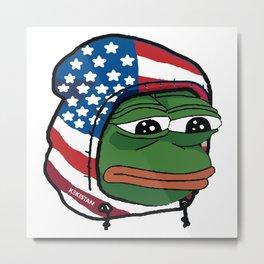 Sad PepeTheFrog #TrumpTrain Hoodie USA Kekistan Metal Print