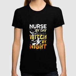 Funny Witch Shirts Nurse By Day Witch By Night Halloween T-shirt