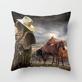 Western Horse Saddle and Cowboy Hat with Horses Throw Pillow