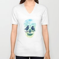 skull V-neck T-shirts featuring Nature's Skull by Rachel Caldwell