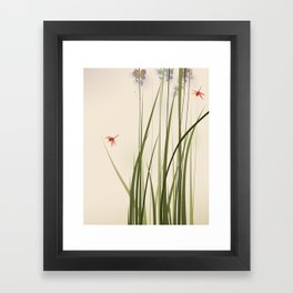 oriental style painting, tall grasses and flowers Framed Art Print