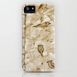 Cedar Waxwings in Birch Tree iPhone Case