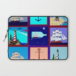 A Nautical Quilt with Ships, Lighthouses and Anchors Laptop Sleeve