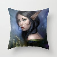 magical girl Throw Pillows featuring Magical girl by Maximko