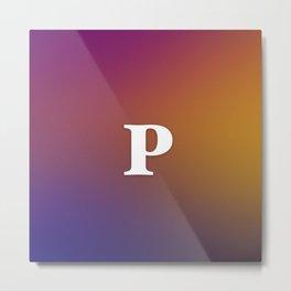 Monogram Letter P Initial Orange & Yellow Vaporwave Metal Print