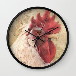 Portrait of a Rooster in a floral frame Wall Clock