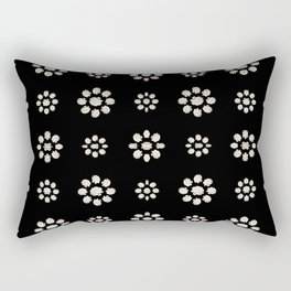 Dark Stylized Floral Pattern Rectangular Pillow