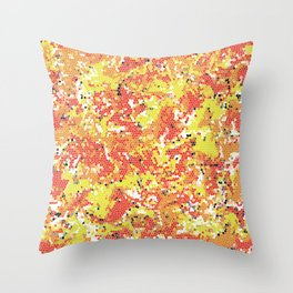 Squashed Yellow Green Frog Abstract Art in a Pool of Red and Orange Stained Glass Effect Throw Pillow