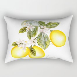 Lemon tree with flowers and fruits in vintage style Rectangular Pillow
