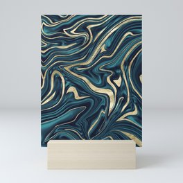 Teal Navy Blue Gold Marble #1 #decor #art #society6 Mini Art Print