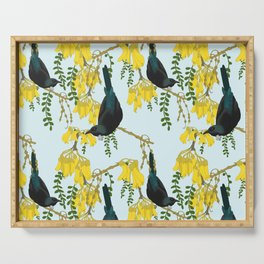Tuis in the Kowhai Flowers Serving Tray