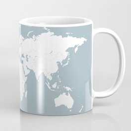 Adventure Awaits World Map in Slate Blue Coffee Mug
