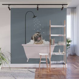 Laughing Pug Enjoying Bubble Bath Wall Mural