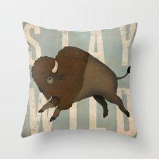 Buffalo Bison Stay Wild Throw Pillow
