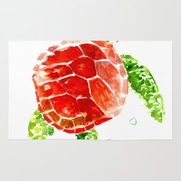 Red, Green Sea Turtle Rug