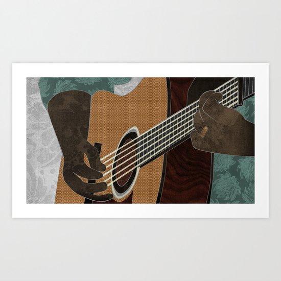 Acoustic Electric Guitar Art Print