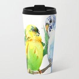 Budgies, Animal art, love, two birds bird artwork Travel Mug