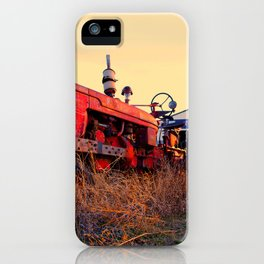 old tractor red machine vintage iPhone Case