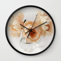 peonies Wall Clocks featuring Peonies by Ellen van Deelen