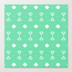 Geo Triangle Sea Green 3 Canvas Print