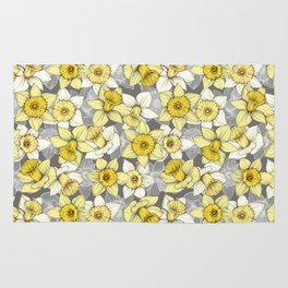 Daffodil Daze - yellow & grey daffodil illustration pattern Rug