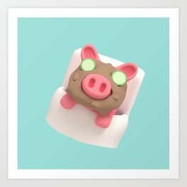 Rosa the Pig does mudbath Art Print