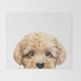 Toy poodle Dog illustration original painting print Throw Blanket