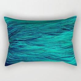 Teal Feathers Rectangular Pillow
