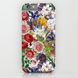 Vintage & Shabby Chic - Lush baroque flower garden pattern on pink iPhone Case