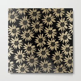 Watercolor abstract chic black gold daisies flowers Metal Print