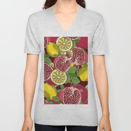 Colored seamless pattern with pomegranates and lemons in vintage style Unisex V-Neck
