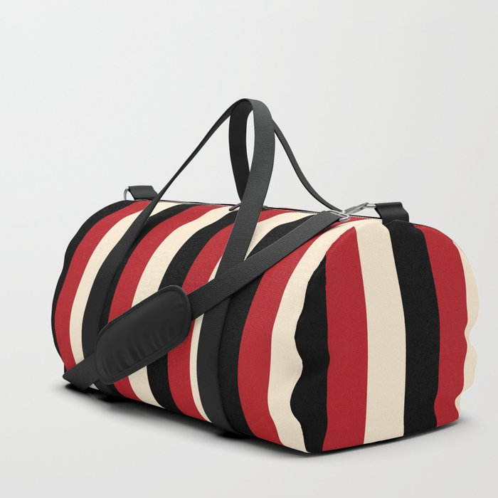 Elegant Stripes - Black, Red & Beige Duffle Bag