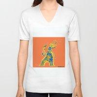 rasta V-neck T-shirts featuring Rasta Shaman by Dmitry Tikov