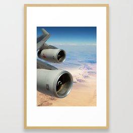 Qantas Boeing 747-400 wing view over the desert Framed Art Print