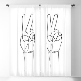 Peace - One Line Drawing Blackout Curtain