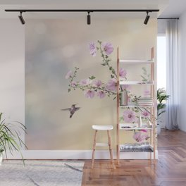 Humming bird and Hollyhock flowers in the garden Wall Mural