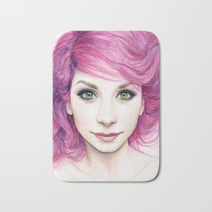 Pink Hair Girl Bath Mat