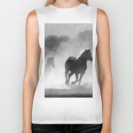 Black and White Running Horses Biker Tank