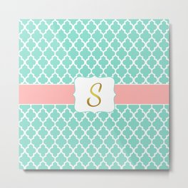 Mint Moroccan Pattern with Coral Accent Metal Print