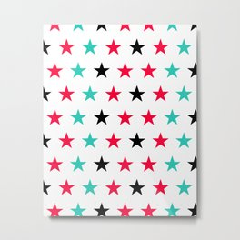 Stars pattern in black, red and turquoise Metal Print