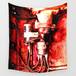 Red Engine Wall Tapestry