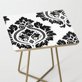 Decorative Damask Art I Black on White Side Table