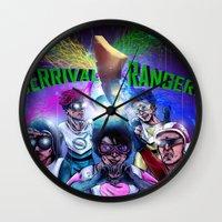power rangers Wall Clocks featuring Derrival Rangers by 3dbrooke