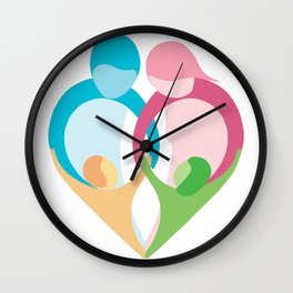Heart shaped family logo. Mother, father, little boy and little girl Wall Clock