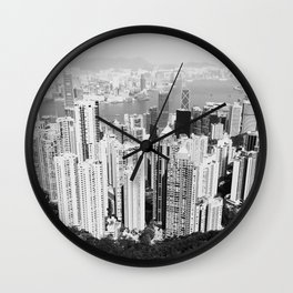 Hong Kong Cityscape // Sky Scraper Skyline Landscape Photography Black and White Buildings Wall Clock