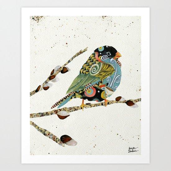 Cafe Swirly Bird 4 Art Print