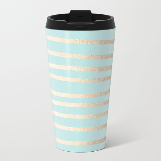 Simply Drawn Stripes White Gold Sands on Succulent Blue Metal Travel Mug