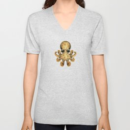 Cute Brown and Yellow Baby Octopus Unisex V-Neck